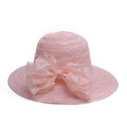 Wholesale Stylish Womens Tops - Womens Fashion Wide Brim Big Bowknot Elegant Stylish Ladies Wedding Church Dress Tea Party Hats A443