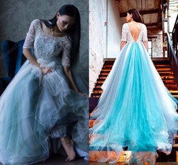 Wholesale Wedding Dresses Sleeve Pregnant - Sexy Backless 2016 Arabic Maternity Wedding Dresses Beaded Sheer Neck Half Sleeves Pregnant Bridal Dresses Sexy Vintage Wedding Gowns