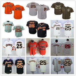 Wholesale Army Green Camo - San Francisco Giants #25 Barry Bonds SF Grey Beige Black White Orange Camo Majestic MLB Baseball Jerseys Top Quality Stitched