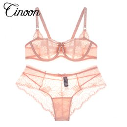 Wholesale 32b Breasts - Europe Brand New Sexy Triangle Bra Lace Sexy Lingerie Bra Set Extender Embroidery Breathable Breast Women Thin Bra Brief Set