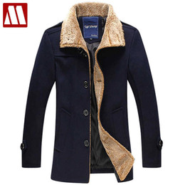 Wholesale Big Coats For Men - Wholesale- New men's jacket high quality wool coats thickening winter jackets for man single breasted cashmere overcoat big size to 5XL