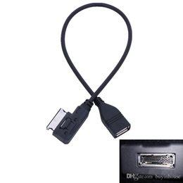 Wholesale Aux Interface - USB AUX Cable Music MDI MMI AMI to USB Female Interface Audio AUX Adapter Data Wire For AUDI A3 A4 A5 A6 Q5 For VW MK5 Car Accessory #B03