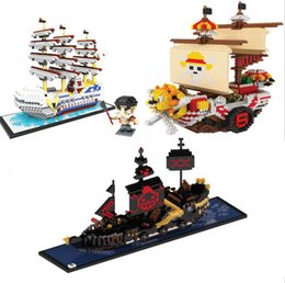 Wholesale Pirates Black Pearl Ship - HC 3 models pirate ship series diamond sunny ship building bricks set white bear action Figure black pearl DIY educational block