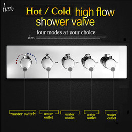 Wholesale Concealed Shower Valves - KAN 4 Way Hot Cold Shower Diverter For Conceal Shower Bathroom Accessories High Flow 70L min Multi Function Shower Control Valve 161222#