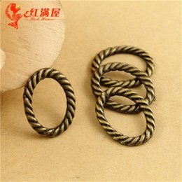 Wholesale Oval Vintage Ring - 16*12MM Antique Bronze alloy oval twisted ring connector charms for bracelet, vintage metal pendants for necklace, tibetan jewelry making