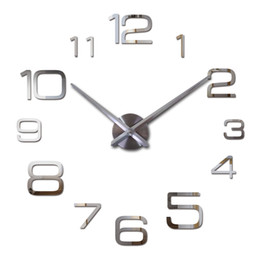 Wholesale Quiet Quartz Wall Clocks - Wholesale-2016 new hot free shipping quartz sale quiet wall clock interesting 3d diy home decor clocks roman numeral art stickers single