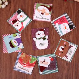 Wholesale Small Invitations Card - Wholesale- 64Pcs lot cartoon Small Santa Claus snowman Christmas Birthday Party Hard Paper Envelopes Invitation gift card Comments Card