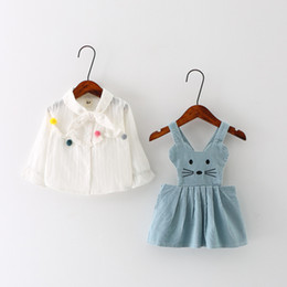 Wholesale Girls Shirts Suspenders - Baby Clothing Spring lovely cat pattern baby girl long sleeve shirt suspender skirt 2 pcs sets for 0~3 year baby