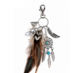 Wholesale Dreamcatcher Charms - Natural turquoise keyring charming silver feather dreamcatcher keychain for women boho jewelry Christmas gift free shipping