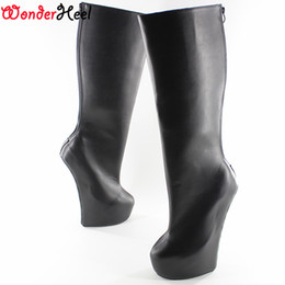 "Wholesale Silver Platform High Heels - Wonderheel Knee High boot 8"" heel matt leather Fetish Heelless strange style ponying heel back zipper Platform fashion boots"