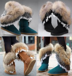 Wholesale Genuine Leather Fox Fur - Women's Mid Calf Leather Snow Boots Real Rabbit Fox Fur WInter Fur Lining Boots