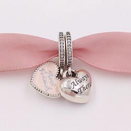 Mejor estilo de cuentas online-Auténticos 925 granos de plata esterlina mejores amigos encanto encantos rosados adapta al estilo de Pandora europeo collar de pulseras de la joyería 791950CZ