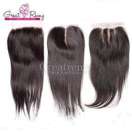 "Wholesale Top Hair Hairpieces - Natural Color 4x4 Top Closure Hairpieces Silky Straight Malaysian Hair 8""-24"" Unprocessed Virgin Human Hair Lace Closure Hand Tied 4*4"