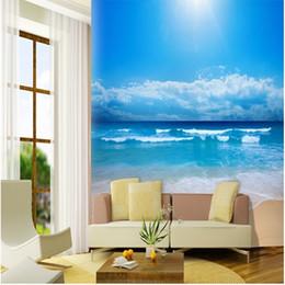 Фрески в океане онлайн-Wholesale-papel de parede Customize 3d photo wallpaper 3d European non-woven wallpaper bedroom ocean sky ocean beach wall mural wallpaper
