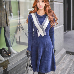 Wholesale Block Peplum Dress - DABUWAWA Women's Going out Casual Vintage Slim Sweater Dress Solid Round Collar Color Block Sheath Pleated Swing Dresses