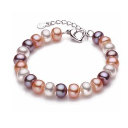 Wholesale Freshwater Lobsters - Wholesale-2015 Hot Fashion 9-10mm big size natural freshwater pearl bracelet for women top quality multi-color charm bracelet best price