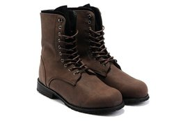 Wholesale b safety - Wholesale-Retro Combat Boots Winter England Style Fashionable Men's Short Black Brown
