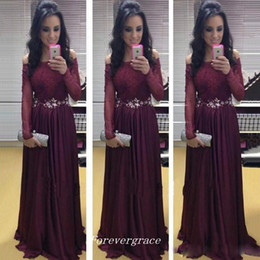 Wholesale Wine Red Elegant Evening Gown - 2017 Fashion Women Wine Red Prom Dress Elegant Burgundy Crystal Long Sleeve Evening Party Reception Gown Custom Made Plus Size