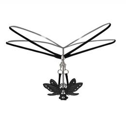 Wholesale Sexy White Butterfly Lingerie - Women Sexy Lace Butterfly Thongs Lingerie Transparent Panties Briefs Metal Chain G String Seamless Underwear Women Strings