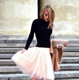 Rosa llano drapeado faldas de tul mujeres cintura alta faldas hasta la rodilla faldas de primavera verano vestidos de fiesta cortos faldas de las mujeres faldas tutú desde fabricantes