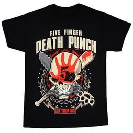 Wholesale Black Zombie - Fashion t-shirt Five Finger Death Punch Men's Zombie Kill T-Shirt Black man t-shirts Cotton Tee Shirts Short-sleeve Designer