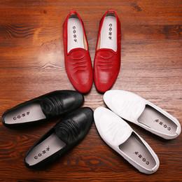 Wholesale Portable Media Drive - 2017 100% Genuine Leather Super Fiber Leather Soft Comfortable Men's Casual Shoes Portable Driving Shoe Laces Flats RED
