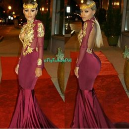 Wholesale Orange Velvet Dress - 2017 Arabic Burgundy Long Sleeves Mermaid Prom Dresses Gold Lace Appliques Backless High Neck Keyhole Neckline Ankara Plus Evening Dresses