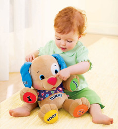 Wholesale Dog Laugh Learn - Wholesale-Brand new Fisher Dog Laugh & Learn Love to Play Puppy Baby Musical Plush Electronic Toy Dog Singing English Songs toys kids gift