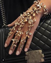 Wholesale European Style Porcelain Ceramic - Women Fashion Style Halloween Hand Skull Skeleton Elastic Bracelet Bangle Cool Free Shipping