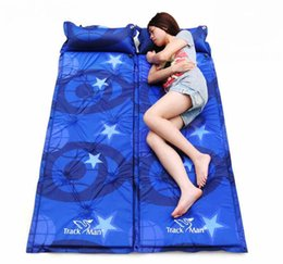 Wholesale single camping air mattress - Wholesale- Camping Fill Foam Air Mattresses Inflatable Mattress Single Automatical Moisture Pad Dampproof Mat Outdoor Picnic Can Splicing