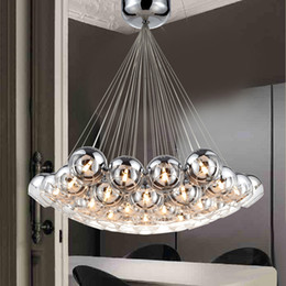chrome art deco Promo Codes - Modern Glass Pendant Lamps Balls LED Pendant Chandelier Light For Living Dining Study Room Home Deco G4 Half Chrome Chandelier Lamp Fixture