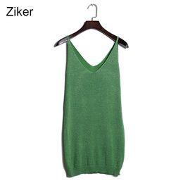 Wholesale Mini Silk Vest - Wholesale- Brand Summer Knitted Vest Women Strapless Slim Sexy Deep V-Neck Fashion Women Tops Silver Silk Knitting Long Shirt Mini