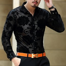 Wholesale Mens Black Mesh Shirt - 2016 Mens Black Camisas Flower Mens See Through Shirts Trendy Dress Shirts Sexy Mesh Transparente Fashion 3XL Club