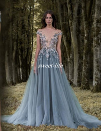 Wholesale Cheap Women Winter Wear - 2017 Paolo Sebastian Lace Prom Dresses Sheer Plunging Neckline Appliqued Party Gowns Cheap Sweep Train Tulle Beads Evening Wear For Women