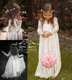 c027a132d Encantadores cordones vintage de encaje para niñas de flores para boda 2020  Una línea Mangas largas Navidad Primera comunión Fiesta de cumpleaños  Vestidos ...