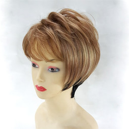 Wholesale Medium Length Blonde Wigs - Short Blonde Black Female Wig High Temperature Silk Natural Comfortable Gradient Wig Suitable For Women To Wear Hand Made Wig