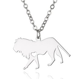 Wholesale Lion Heart - Lion Pendant Necklace with love heart Stainless Steel Animals Charm Link Chain Jewelry for Women and Men Children Gifts Wholesale