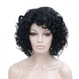 Wholesale High Heat Synthetic Wigs - Short Curly Black High Heat Ok Full Synthetic Wig Womens Wigs