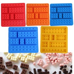 Wholesale Silicone Icing Molds - Square Lego Creative Silicone Ice Trays Ice Maker Lego Type Muffin Sweet Candy Jelly Fondant Cake Chocolate Mold Ice Moulds Candy Molds