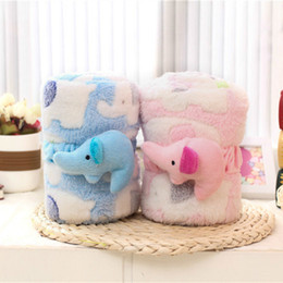 Wholesale Receiving Fleece Blankets - High quality 3D Baby animal elephant plush blanket minky bedding newborn swaddle wrap fleece infant character receiving blankets