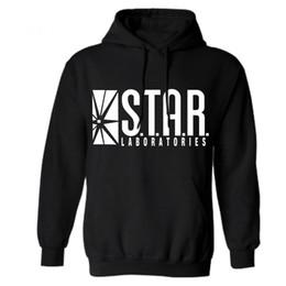 Ropa de laboratorio online-Venta al por mayor- Star Lab Printing Men Hoodie Sudadera con capucha negra Ropa impresa para hombre Sudaderas y sudaderas Invierno The Flash Star Labs