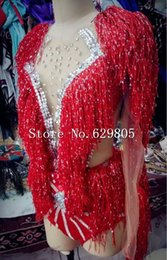 Wholesale Leotards For Clubwear - Red Tassel Sequins Long Sleeves Glitter Bodysuit For Women Nightclub Bar Outfit Stage Party Costume Female Singer Dance Leotard