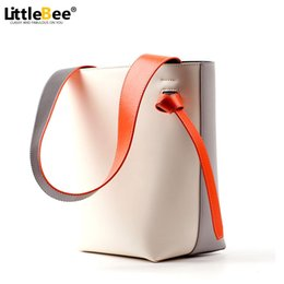 Wholesale Genuine Leather Shopper - Wholesale- 2016 Women Casual Tote Bag Bucket Handbags Famous Brand Densiger Genuine Leather Drawstring Bag Shopping with Purse Shopper Bag