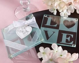 Wholesale Wedding Favors Models - Wedding gifts for guests party favors Glass Coaster Tablemat Cup Mat Pad Various model option 200pcs(100sets) wholesale
