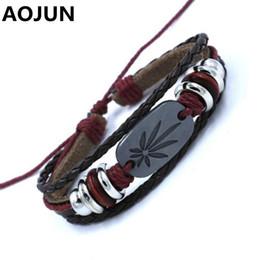 Wholesale Wholesale Jamaican Jewelry - Wholesale- AOJUN 2017 Hot Maple Leaf Leather Bracelet Male Trendy Charm Jamaican Bracelets For Women Men Reggae Jewelry Drop Shipping 2XL20