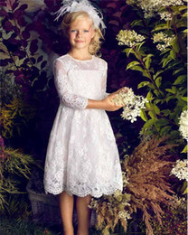 Wholesale Cute White Party Dresses - Cute Long Sleeve Lace Flower Girls Dresses for Wedding Party 2017 Jewel Neck Knee Length Ivory Tulle First Communion Dresses For Girls