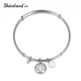 Wholesale Wholesale Gift Items For Sale - Wholesale-Shineland New Hot Sale Hollow Life Tree Heart Silver Rose Gold Plated Crystal Charm Bracelet For Women Friendship Gift Items