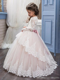Wholesale Cupcakes Princesses - 2017 Cupcake Little Kids Pageant Gowns for Girls Long Sleeves Lace Appliques With Bow Sashes Wedding Birthday First Flower Girl Dresses