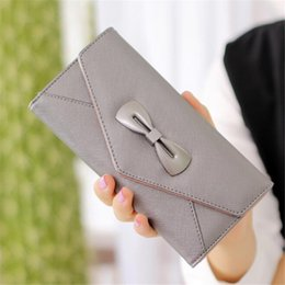 Wholesale Sports Cell Phone Covers - Women Evening Bags Nice Bowknot Clutch Bags PU Leather Wallets & Holders Card Holder Wallets For Lady Dress Accessories