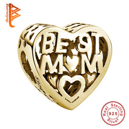 Wholesale Rose Gold Color Beads - BELAWANG Wholesale Rose Gold Color Heart Charm Beads BEST MOM Beads fit Pandora Bracelet&Necklace Fashion Charms DIY Jewelry for Mother